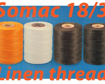 Waxed Linen Thread Somac size 18/3 in 4 Colours/Linen Cable/Saddlers Thread/Waxed Leather Thread/Handsewing Leather/Corded Linen