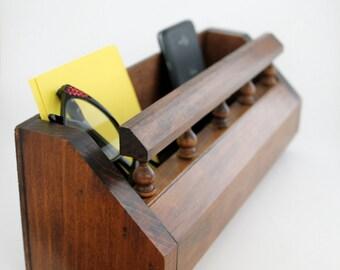 Wooden Wall Organizer, Letter Holder, Bills and Paper Desk Caddy, Remote Control Holder