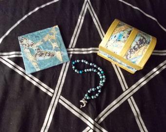 Shrine Kit - Greek God Poseidon - Sea Chest, Artwork, Prayer Beads - Gold and Blue