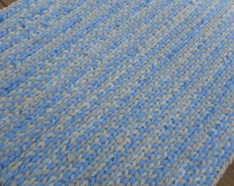 Blues, tan and cream rectangular twined rag rug