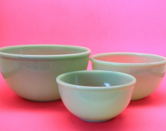 Fire King Jadeite Beaded Rim Mixing Bowls, 1940's