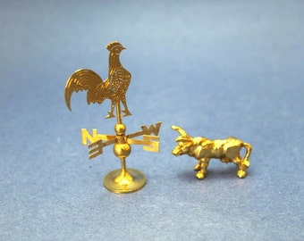 Miniature Dollhouse Windvane and Bull in Gold, Farmhouse Miniatures
