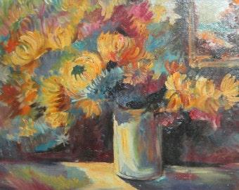 Vintage oil painting floral still life