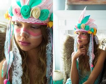 Toddler Headdress, Feather Crown, Bohemian Indian Crown, Tribal Birthday Girl, Indian Feather Headdress, Tribal Banner, Tribal Birthday