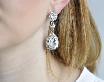 Earrings - Bridal Jewelry: Crystal drops, bridesmaid, Maid of honor, gift, wedding jewelry