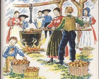 Pennsylvania Dutch  Apple Butter Recipe Vintage Greeting Card C358