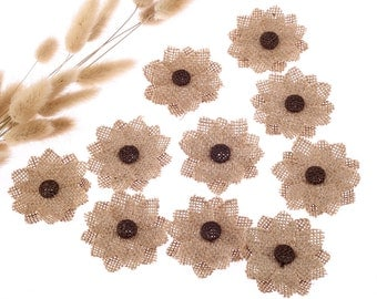 10 x Jute Flower Hessian Burlap Wedding Rustic Sewing Craft - 3 Colors