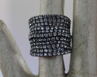 Vintage DanniJo Prong Set Faceted Crystal Cuff Ring