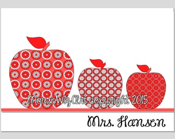 Personalized teacher Note Cards Stationary Stationery Apple set gift - APPLES