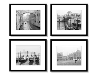 SALE, Venice Prints, Black and White Photography, Set of 4 Prints, Venice Wall Art, Europe Prints, Travel Decor, Italy Photos, Gallery Wall