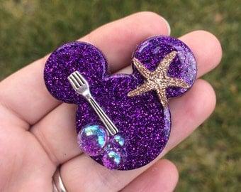 handmade ariel inspired brooch, ariel brooch, ariel pin, disney brooch, disney pin, mickey mouse brooch