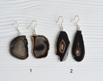 Agate Earrings, Black Agate Earrings, Agate Slice Earrings, Raw Gemstone Earrings, Silver Agate Earrings, Black Agate Earrings