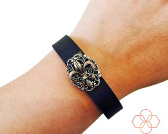 Charm to Accessorize Fitbit or Other Trackers - The Vintage FLEUR DE LIS Gold and Silver Charm to Dress Up Your Favorite Fitness Tracker