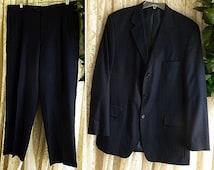Vintage 44 46 Reg Long NAVY PINSTRIPE SUIT 2-Piece Pinstripe Light Blue Pin Stripe Pleated Trousers Gangster Prep Formal Business Wedding