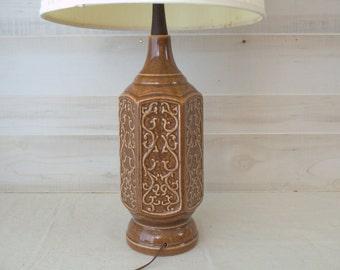 Mid Century Table Lamp, Danish Ceramic Lamp, Textured Brown Ceramic Lamp