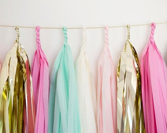 Light Pink, Mint, Raspberry, White & Gold Tassel Garland