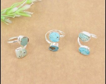 1pcs Fashion Natural Druzy Turquoise Ring,Silver plated Druzy Turquoise Gemstone Ring Jewelry findings