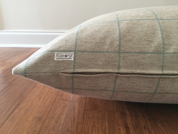 Plaid Dog Bed Cover Check Dog Bed Cover Sea By Plushpupdogbeds