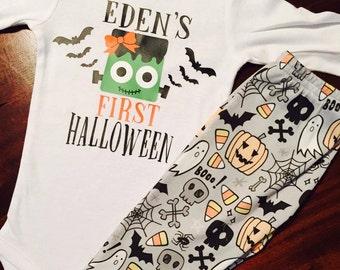 Halloween Top/ Halloween Bottoms. First Halloween. Frankenstein. Baby Girl Halloween. Baby Boy Halloween.