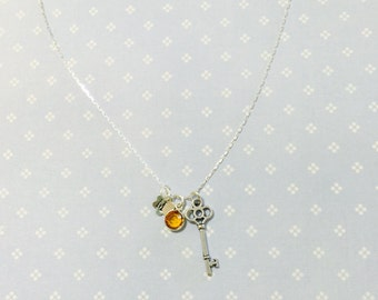 Hand Stamped Initial Birthstone Necklace Sterling Silver