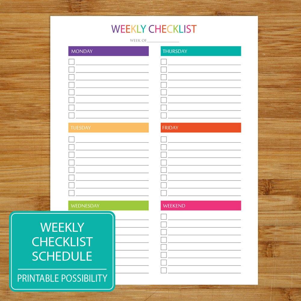 Weekly Checklist Printable Weekly Checklist Brights – Weekly Checklist