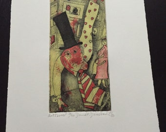 Art Ferrer: Small Signed Print By American Printmaker David Driesbach