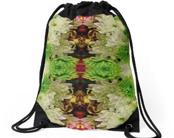 Floral Drawstring Bag Backpack Knapsack