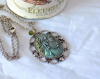 Cameo Necklace Patina Cameo Portrait Cameo Victorian-Style One of a Kind Long Necklace Edwardian Jewelry Victorian Jewelry