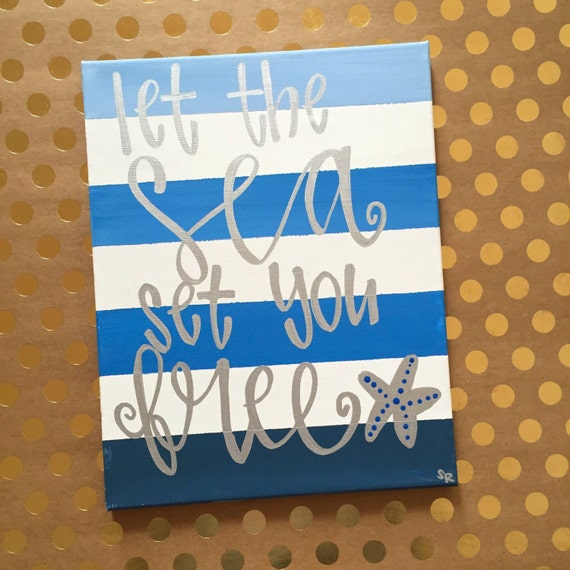 Items Similar To Let The Sea Set You Free Canvas Painting