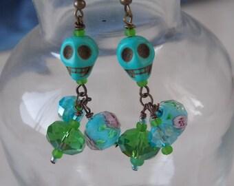 Skull Earrings Turquoise Blue and Green Beaded Skull Earrings  E55