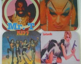 1970s Coaster Bonanza, Drink Coasters, Rubber  Coasters, Kiss, Divine, Mr T, Barbarella, 1970s, Retro, Set Of Four, Made By Mod.