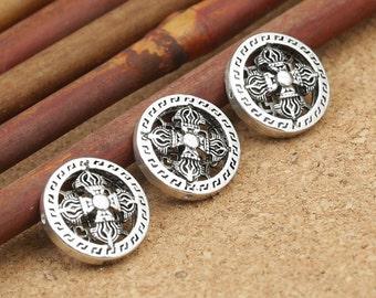 4 Sterling Silver  Double Dorje Beads, Sterling Silver Buddhist Vajra Beads, Sterling Silver Tibetan Dorje Bead, Sterling Bead 14mm - EZY133