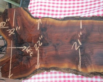 """99#  Black Walnut Live Edge slab, kiln dried,  thick 2.25"""", has nice figure, some distress and cracking at crotch, very solid slab, no rott"""
