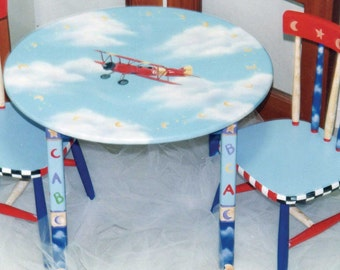 child's table sets, custom Airplane table & chair set, boys painted table and chairs, children's furniture
