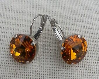 Topaz Swarovski Earrings/ 14MM Rivoli Stones/ Rhodium Finish/ Fall Color Earrings/ Designer Inspired/ Dangle Earrings/ Crystal Earrings/