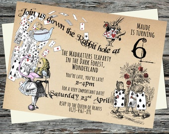 Alice in Wonderland, playing cards Birthday Party Invitations, Printable, Thank you files, Full Set optional Down the Rabbit Hole, Drink me