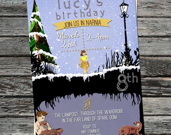 The Lion, the Witch & the Wardrobe, Narnia Invitations, woodland invites, Mr Tumnus, Lucy, lamp post, Otter, snowy scene, winter wonderland