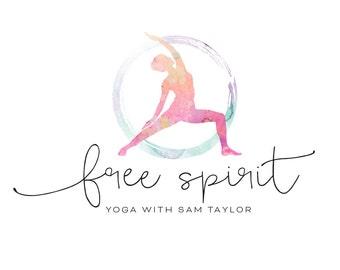 Logo Design Branding Package Premade Graphics Custom Yoga Text Zen Pink Purple Watercolor Circle