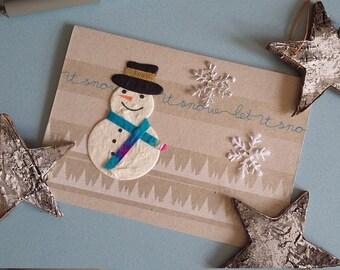Winter Snowman Card - 'Happy Christmas' blank card, A6 festive card, seasonal greeting card, let it snow