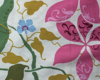 Large Floral Cotton Print Fabric Blue Magenta Green Cream