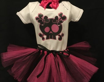 Hot pink and black skull tutu creeper/shirt outfit with matching headband