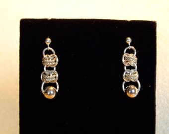Sterling Silver Barrel weave Earring with beads