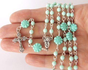 Catholic Rosary Beads - Thin Small Handmade Five Decade Rosary - Mint Green with Turquoise Rosary Beads - Catholic Baptism Christening Gift