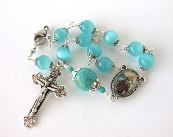 Car Rosary - Blue Cats Eye and Turquoise Gemstone Auto Rosary with Saint Christopher Centerpiece - Unbreakable Auto Rosary - Catholic Gift