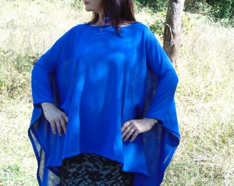 Royal blue chiffon tunic/Party tunic/Transparent tunic/Top Tunic/Loose tunic/Plus size tunic/Elegant tunic/Boho tunic/Eid/Holiday tunic top/