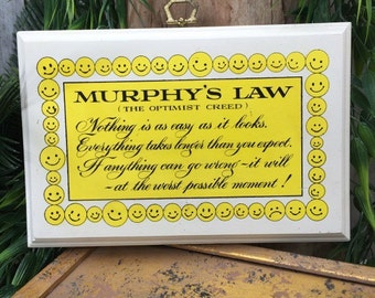 Murphy's Law Plaque, 1960s, Phrase, Optimist Creed, When Irish Eyes are Smiling, Nothing is Easy, Irish Luck, luck of the Irish, Smile