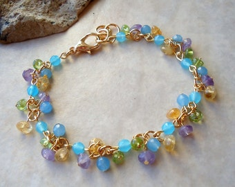 Multi Gemstones Cluster Bracelet.Aqua Chalcedony.Purple Amethyst.Citrine.Green Peridot.24k Gold plated.Beadwork.Bridal.Delicate. Handmade.