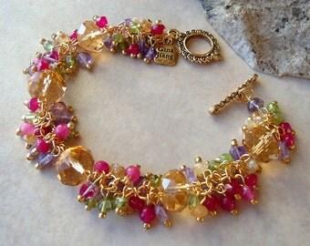 Multi Gemstones Cluster Bracelet.Citrine.Amethyst.Peridot.Quartz.Jade.24K Gold Plated.Wedding.Beadwork.Bridal.Statement.Colorful.Handmade