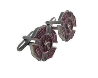 Fire Fighter Emblem Cuff Links - Silver Toned