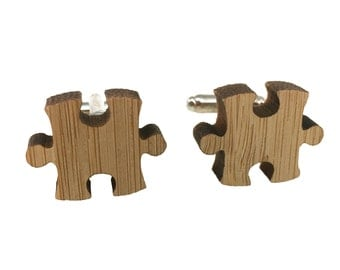 Wooden Puzzle Piece Cuff Links